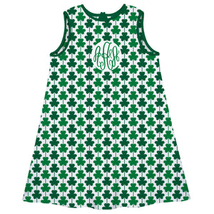Clovers Print Monogran White A Line Dress - Wimziy&Co.