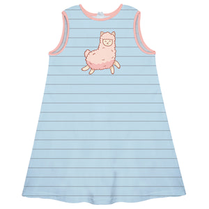Light blue and gray stripes cute llama a line dress with name - Wimziy&Co.