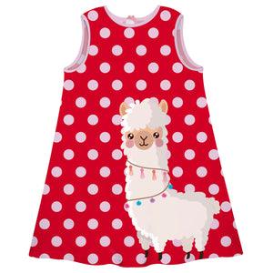 Red with pink dots and llama girls a line dress - Wimziy&Co.