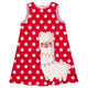 Red with pink dots and llama girls a line dress
