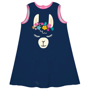 Navy and pink llama face girls a line dress - Wimziy&Co.
