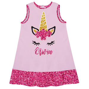 Pink and hot pink unicorn face a line dress with name - Wimziy&Co.