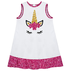White and hot pink unicorn face a line dress with name