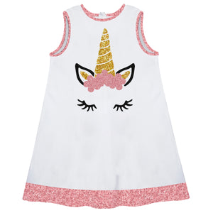 White and pink unicorn face a line dress with name - Wimziy&Co.