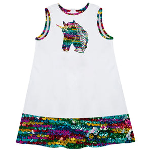 White and sequins unicorn a line dress with name