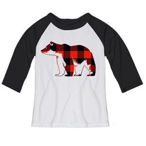 Girls white and black bear raglan blouse - Wimziy&Co.