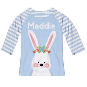 Bunny Name Light Blue Raglan Tee Shirt Three Quarter Sleeve - Wimziy&Co.