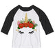 White and black unicorn face three quartes sleeve tee shirt - Wimziy&Co.