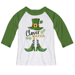 Clover Queen White and Green Raglan Tee Shirt Three Quarter Sleeve - Wimziy&Co.