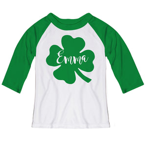 Clover Name White and Green Raglan Tee Shirt Three Quarter Sleeve - Wimziy&Co.