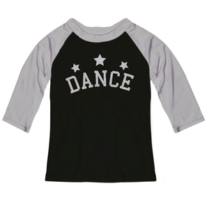 Black and gray dance thre quarter sleeve raglan tee shirt