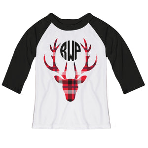 Girls white and red plaid raglan blouse with monogram