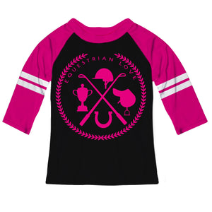 Black and hot pink three quarter sleeve equestrian elements blouse - Wimziy&Co.
