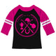 Black and hot pink three quarter sleeve equestrian elements blouse