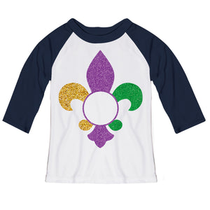 Fleur De Lis Monogram White And Navy Raglan Tee Shirt Three Quarter Sleeve - Wimziy&Co.