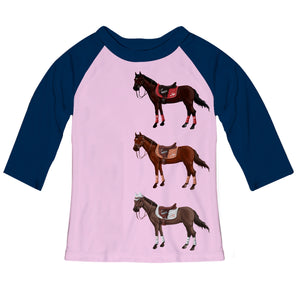 Light pink and navy sleeves blouse with horses and name