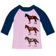 Light pink and navy sleeves blouse with horses and name - Wimziy&Co.