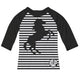 Black and white equestrian blouse with horse and monogram