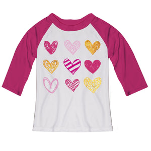 Hearts White and Pink Raglan Tee Shirt Three Quarter Sleeve - Wimziy&Co.