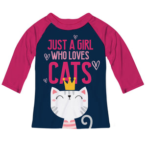 Just A Girl Who Loves Cats Navy and Hot Pink Tee Shirt 3/4 Sleeve