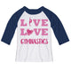 White and navy 'live, love, gymnastics' raglan three quarter sleeve tee shirt - Wimziy&Co.