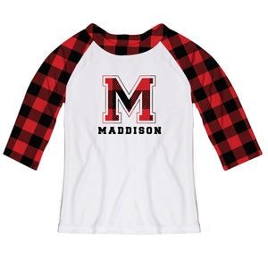 Girls white and red plaid raglan blouse with name and initial - Wimziy&Co.