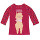 Red and multicolor llama raglan tee shirt - Wimziy&Co.