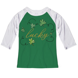 Lucky Green and White Raglan Tee Shirt Three Quarter Sleeve - Wimziy&Co.