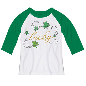 Lucky White and Green Raglan Tee Shirt Three Quarter Sleeve - Wimziy&Co.