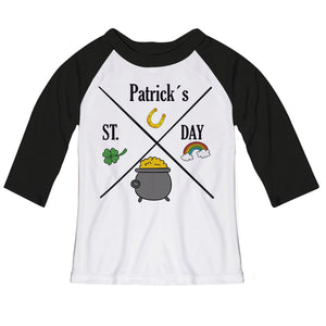 ST.Patricks Day White and Back Raglan Tee Shirt Three Quarter Sleeve - Wimziy&Co.