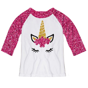 White and hot pink glitter unicorn face three quarter sleeve blouse with name - Wimziy&Co.