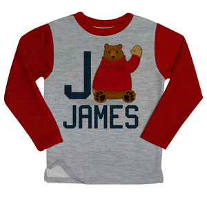 Boys gray and red bear fleece sweatshirt with name and initial
