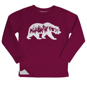 Boys maroon bear and mountains fleece swearshirt with name