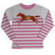 Pink and white stripes long sleeve fleece sweatshirt with horse - Wimziy&Co.