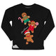 Gingerbread black fleece girls sweatshirt with name