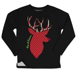 Black deer girls fleece sweatshirt with name