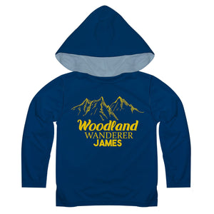 Boys navy and yellow woodland long sleeve hooded tee shirt - Wimziy&Co.