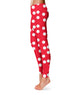 Polka Dots Print Monogram Red Leggings - Wimziy&Co.