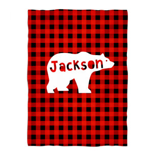 Red buffalo plaid and white bear blanket with name - Wimziy&Co.
