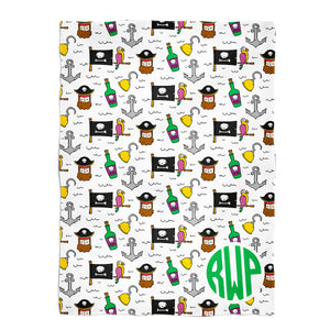 Pirates print monogram white minky blanket - Wimziy&Co.