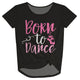 Black and pink 'born to dance' girls knot top - Wimziy&Co.
