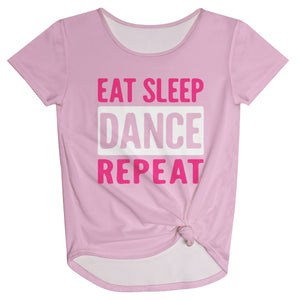 Pink and white 'eat sleep dance repeat' girls knot top - Wimziy&Co.