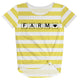 Yellow and white stripes farm short sleeve knot top