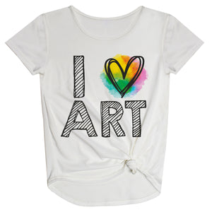 I Love Art White Knot Top - Wimziy&Co.