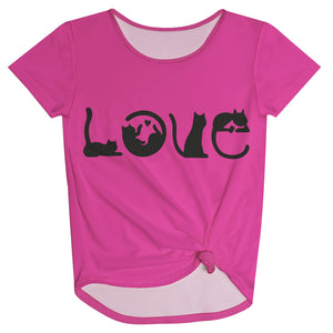 Love Cats Hot Pink Knot Top - Wimziy&Co.