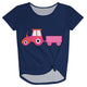 Navy truck girls knot top with monogram