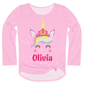 Unicorn Name Pink Long Sleeve Knot Top - Wimziy&Co.