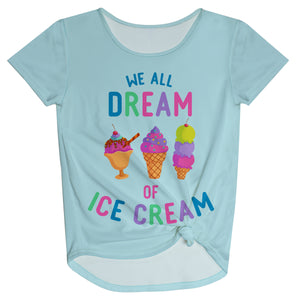 We Dream Of Ice Creem Light Blue Knot Top - Wimziy&Co.
