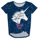 Navy birthday unicorn short sleeve knot top - Wimziy&Co.