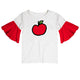 Apple Name and Initial White And Red Short Sleeve Ruffle Top - Wimziy&Co.